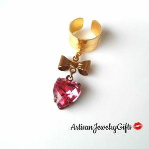 Antique Heart Gemstone Ear Cuff
